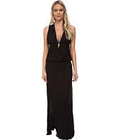 Vix - Sofia by Vix Solid Black Crossed Black Long Dress Cover-Up
