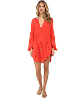 Vix - Solid Coral Red Paris Tunic Cover-Up