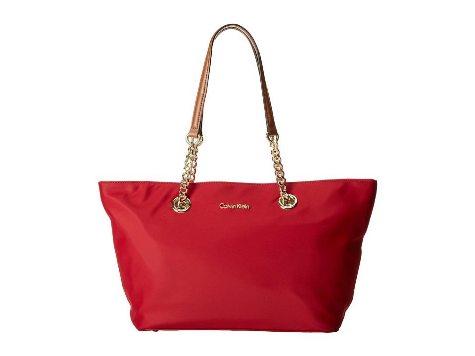 Calvin Klein - Nylon Chain Tote (Red) Tote Handbags