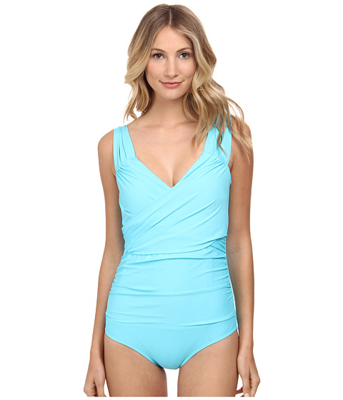 Athena - Finesse Solids Wide Strap Drape Front One-Piece (Lagoon) Women's Swimsuits One Piece