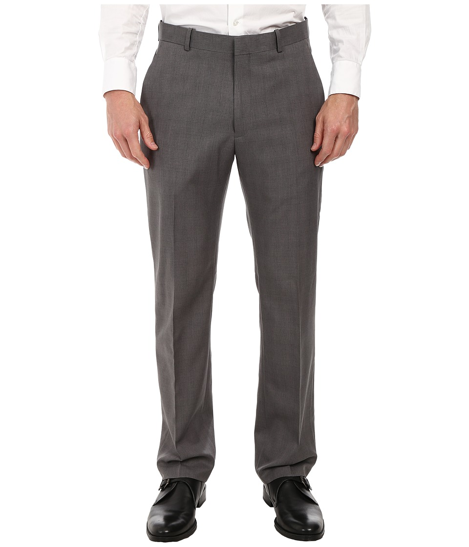 Perry Ellis Portfolio Travel Luxe Modern Fit Windowpane Plaid Pants (Charcoal) Men