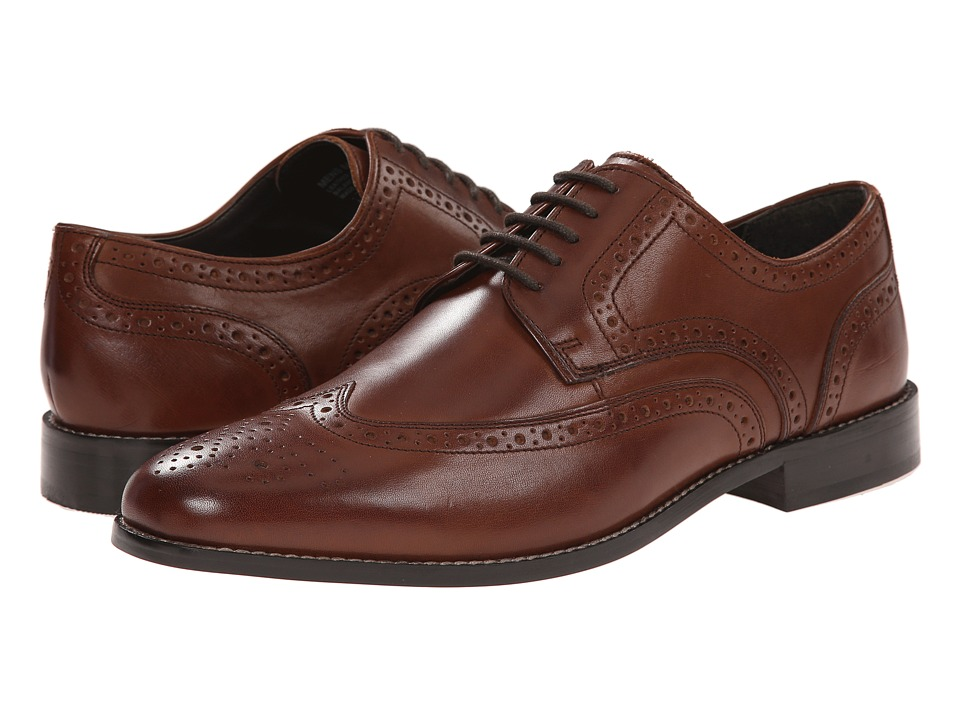 1940s Style Mens Shoes Nunn Bush - Nelson Wingtip Oxford Brown Mens Dress Flat Shoes $68.00 AT vintagedancer.com
