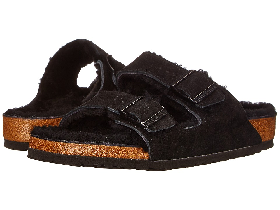 Birkenstock - Arizona Shearling (Black/Black Suede) Womens  Shoes