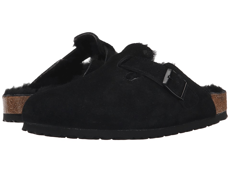 Birkenstock Boston Shearling (Black/Black Suede) Women