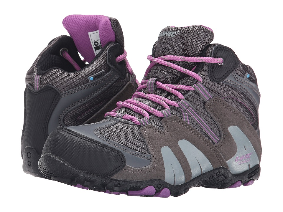 Hi Tec Kids Aitana Mid Waterproof Jr Toddler/Little Kid/Big Kid Charcoal/Grey/Orchid Kids Shoes