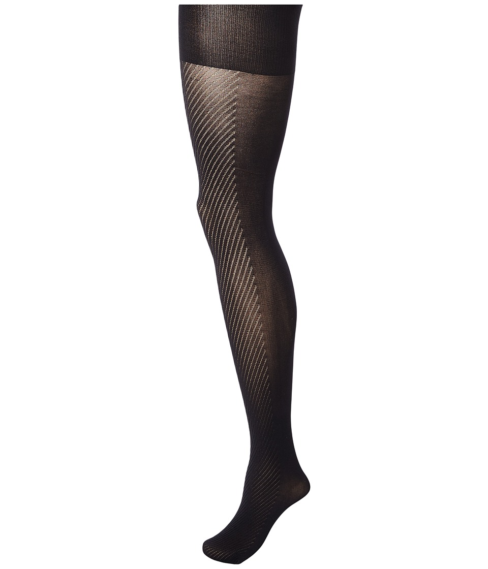 Spanx Diagonal Contrast Shaping Tights Black Hose