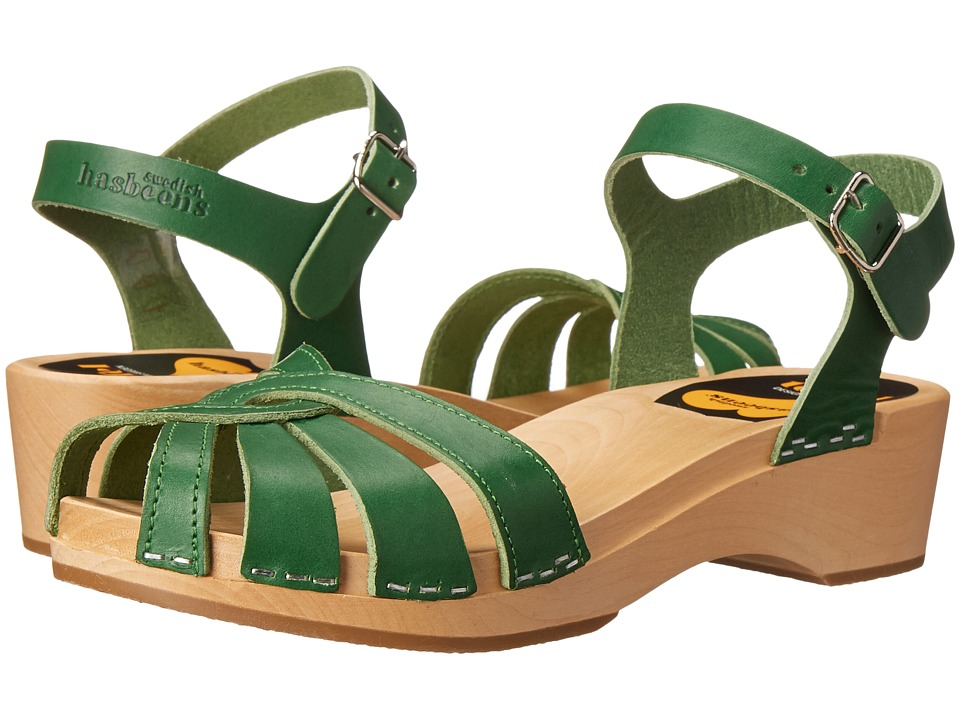 Swedish Hasbeens Cross Strap Debutant Strong Green Womens Sandals