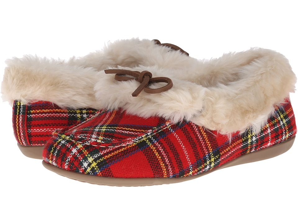 VIONIC Cozy Juniper Moccasin Red Plaid Womens Slip on Shoes