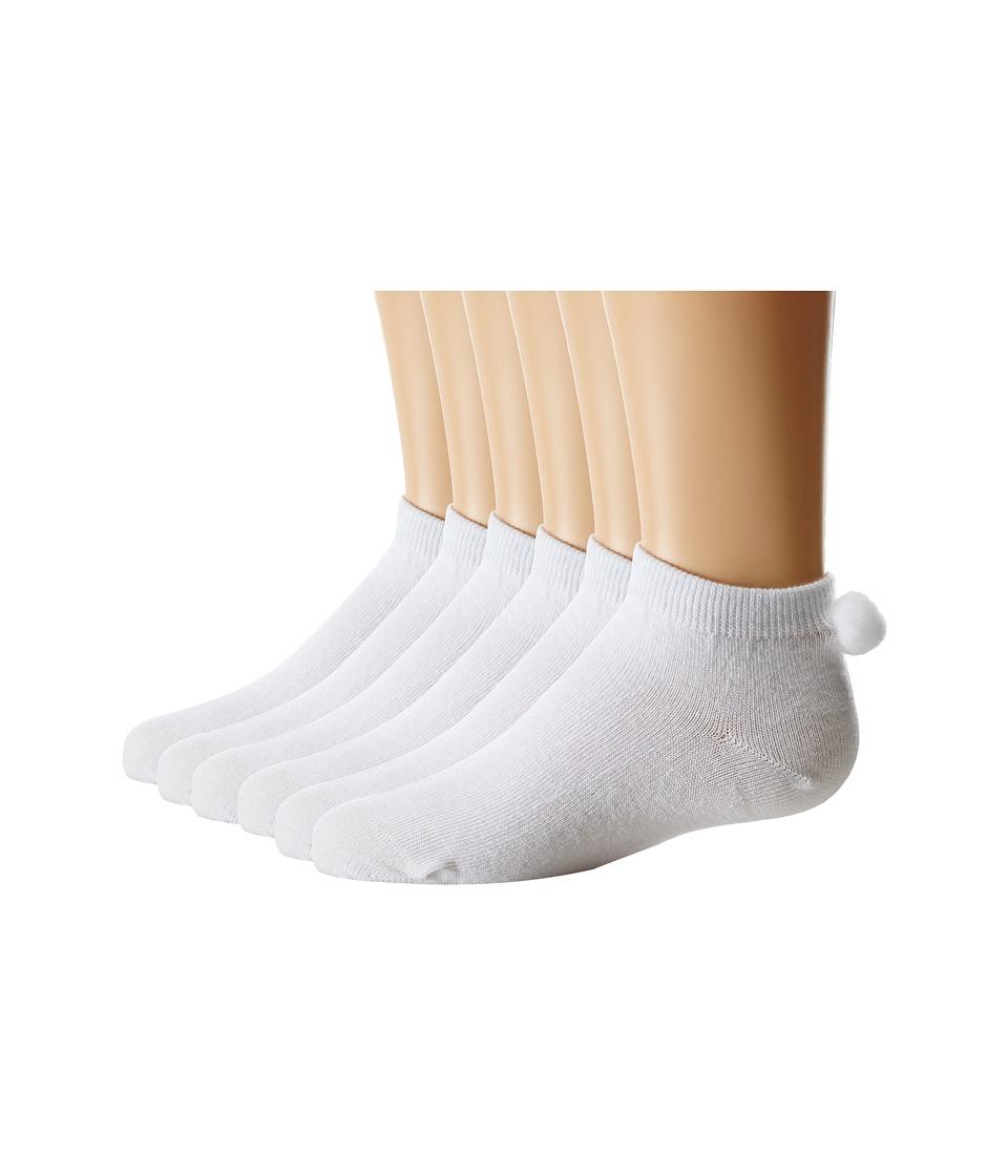 Jefferies Socks Pom Ped 6-Pack (Toddler/Little Kid/Big Kid) (White) Girls Shoes