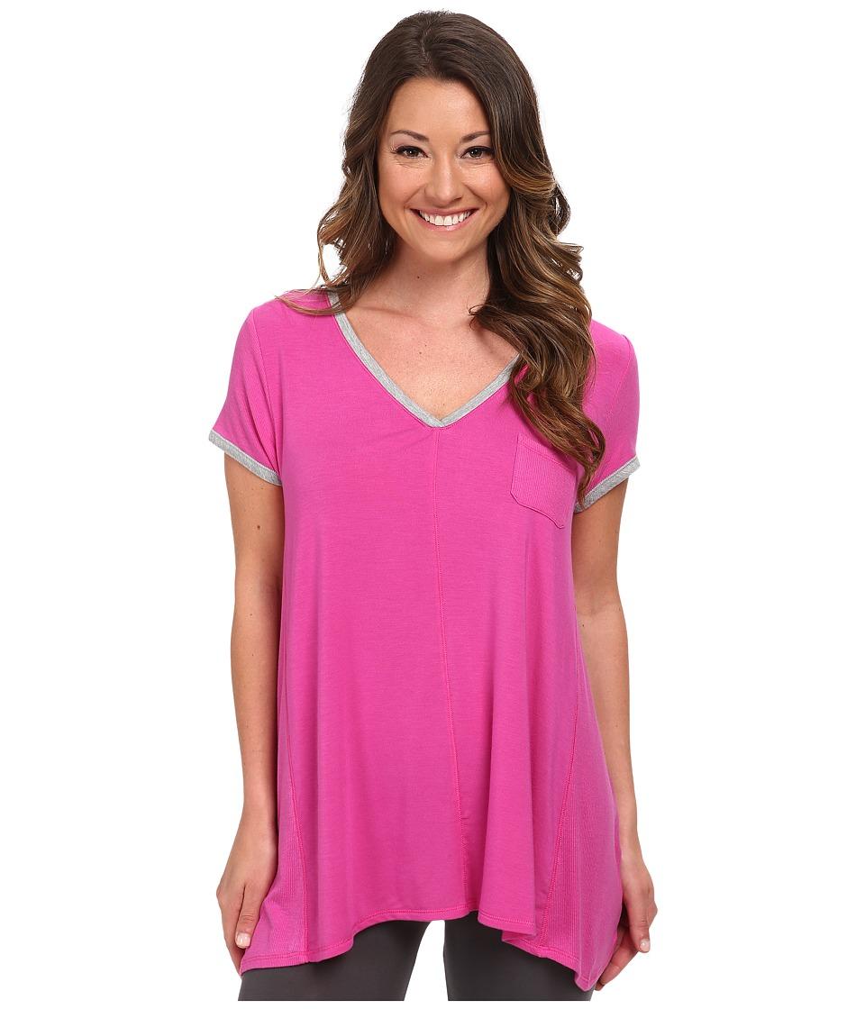 DKNY Urban Essentials Glamour Short Sleeve Top Fuchsia Womens Pajama