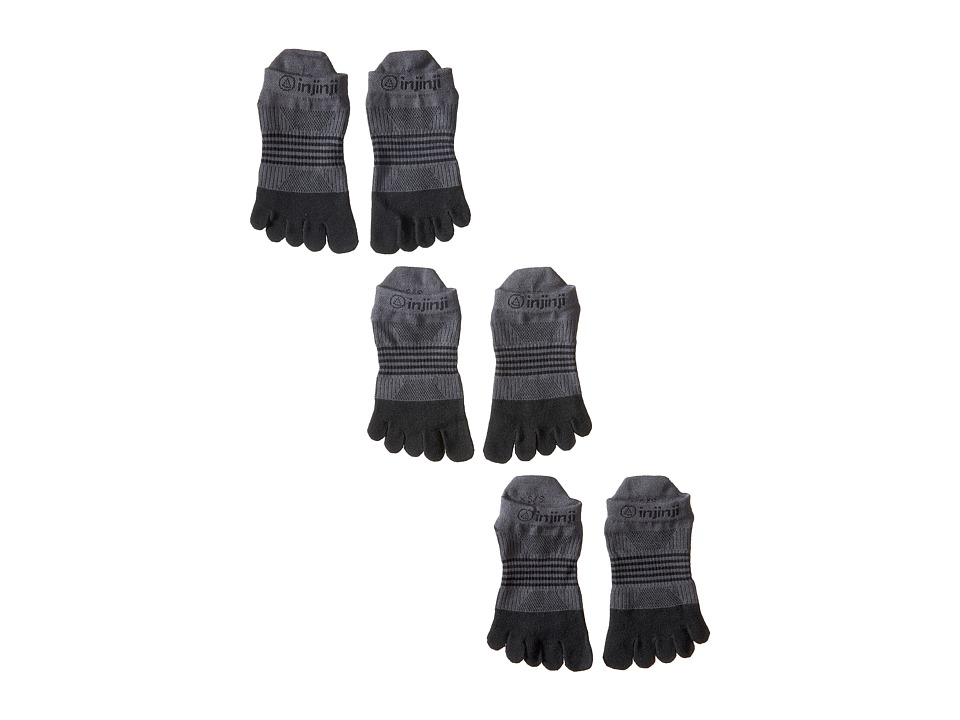 Injinji Run Lightweight No Show 3 Pack Black/Gray Womens No Show Socks Shoes
