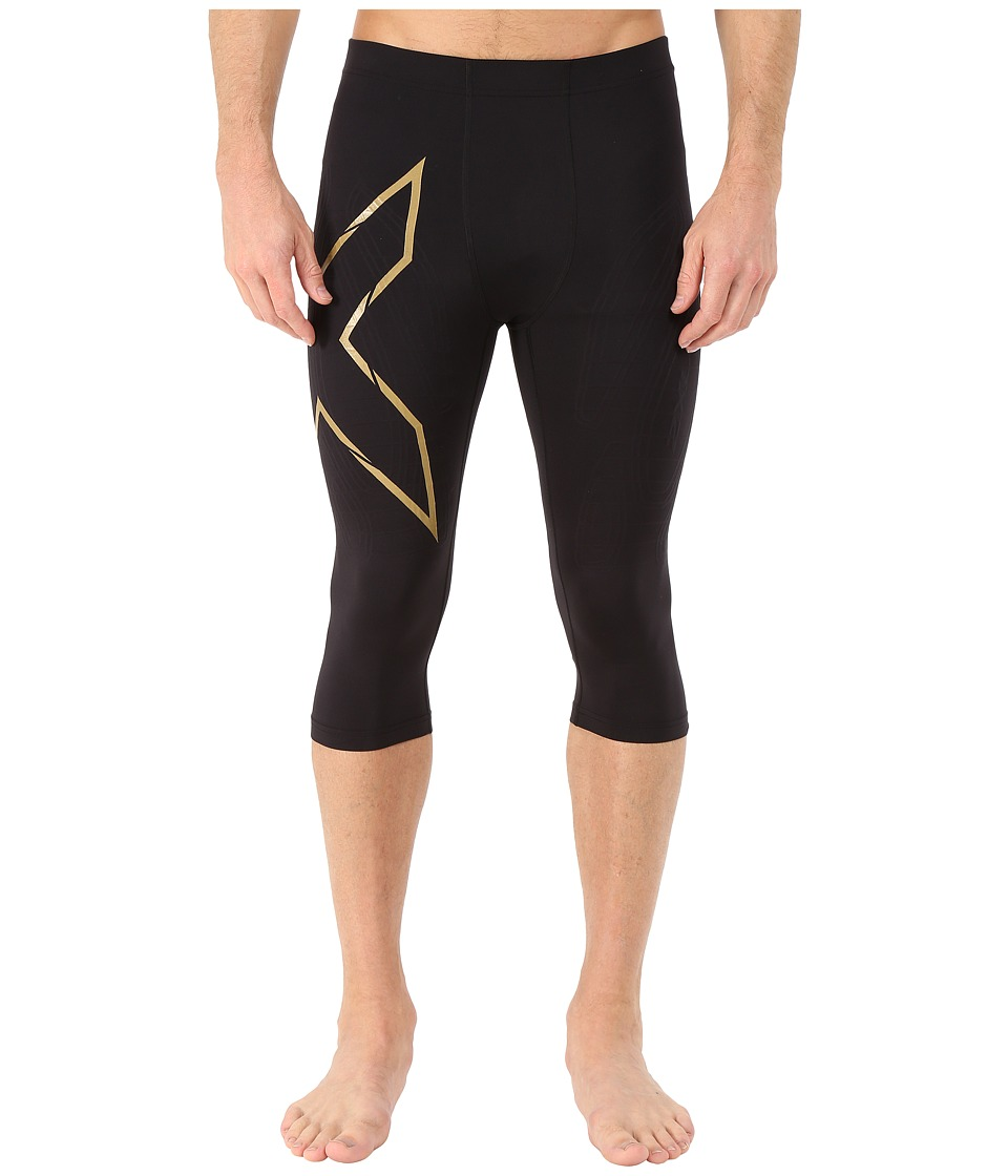 2XU Alpine MCS Thermal Compression 3/4 Tights Black/Gold Mens Workout