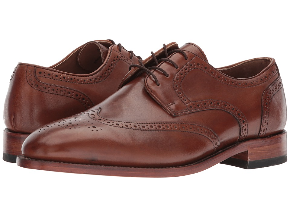 Johnston amp Murphy Melton Wingtip Tan Italian Calfskin Mens Lace Up Wing Tip Shoes
