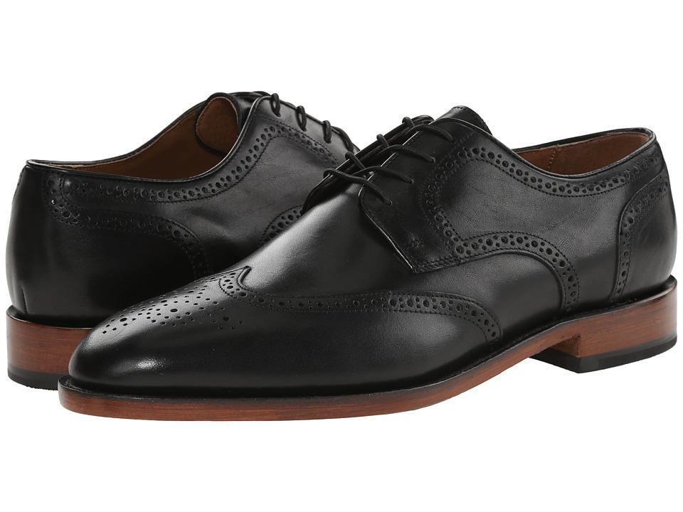 Johnston amp Murphy Melton Wingtip Black Italian Calfskin Mens Lace Up Wing Tip Shoes