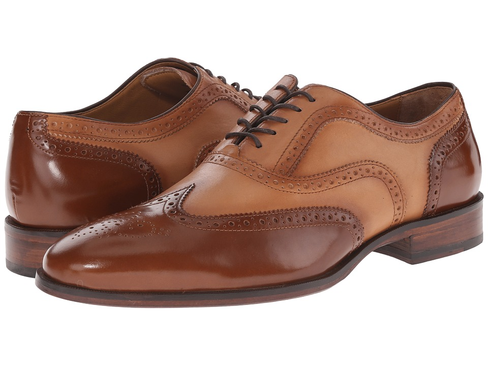 Johnston amp Murphy - Nolen Wingtip Tan Calfskin Mens Lace Up Wing Tip Shoes $185.00 AT vintagedancer.com