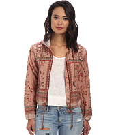 Free People - Printed Cotton Voile Patterned Hooded Jacket