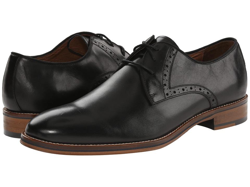 Johnston & Murphy - Conard Plain Toe (Black Calfskin) Mens Plain Toe Shoes