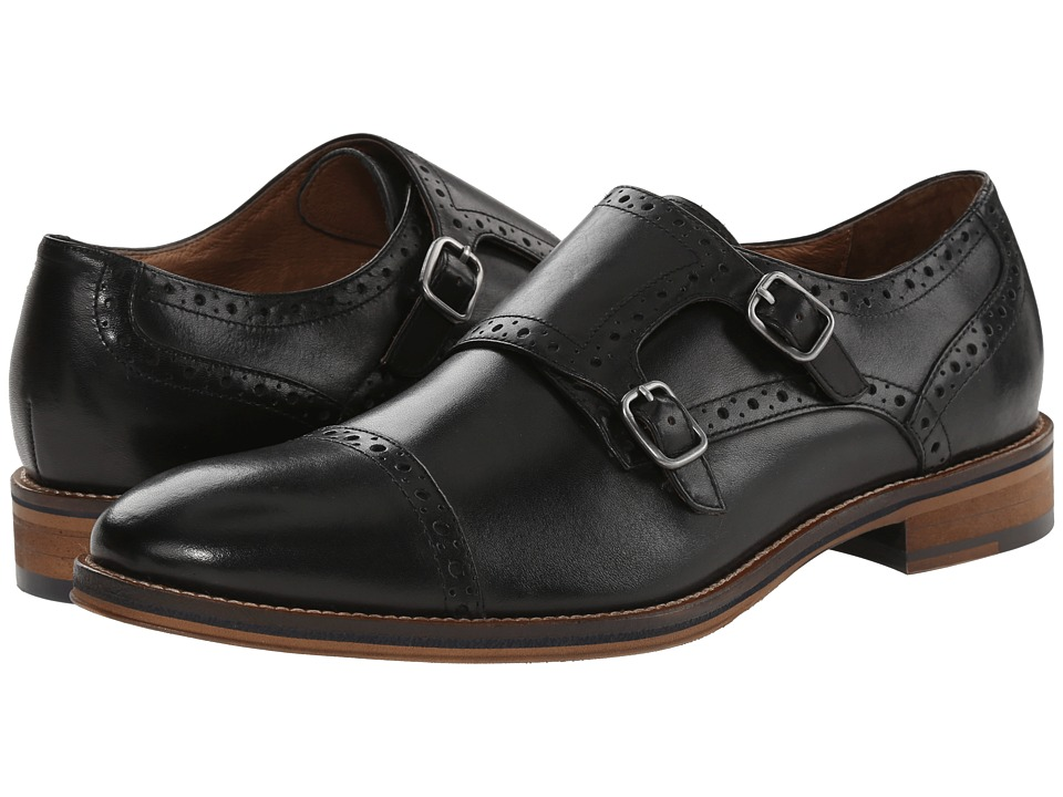 Johnston amp Murphy Conard Double Monk Strap Black Calfskin Mens Shoes