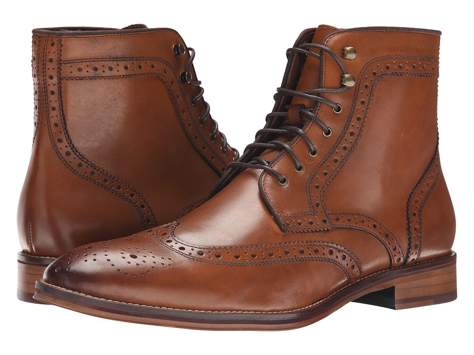 Mens Vintage Style Shoes| Retro Classic Shoes Johnston amp Murphy - Conard Wingtip Boot Tan Calfskin Mens Dress Lace-up Boots $175.00 AT vintagedancer.com