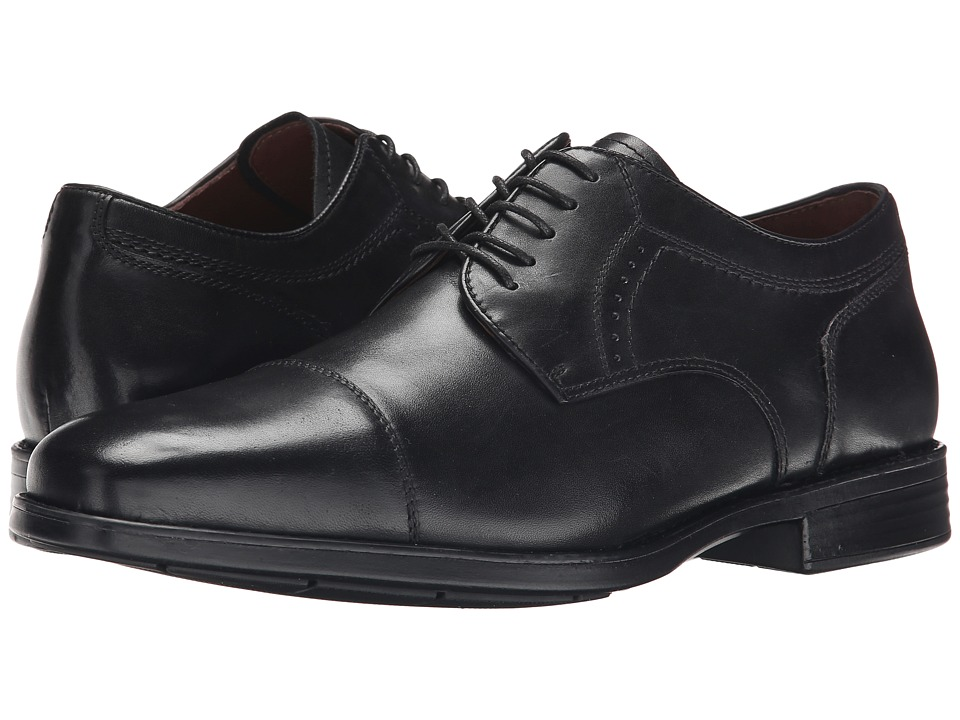 Johnston amp Murphy Branning Cap Toe Black Waterproof Calfskin Mens Lace Up Cap Toe Shoes