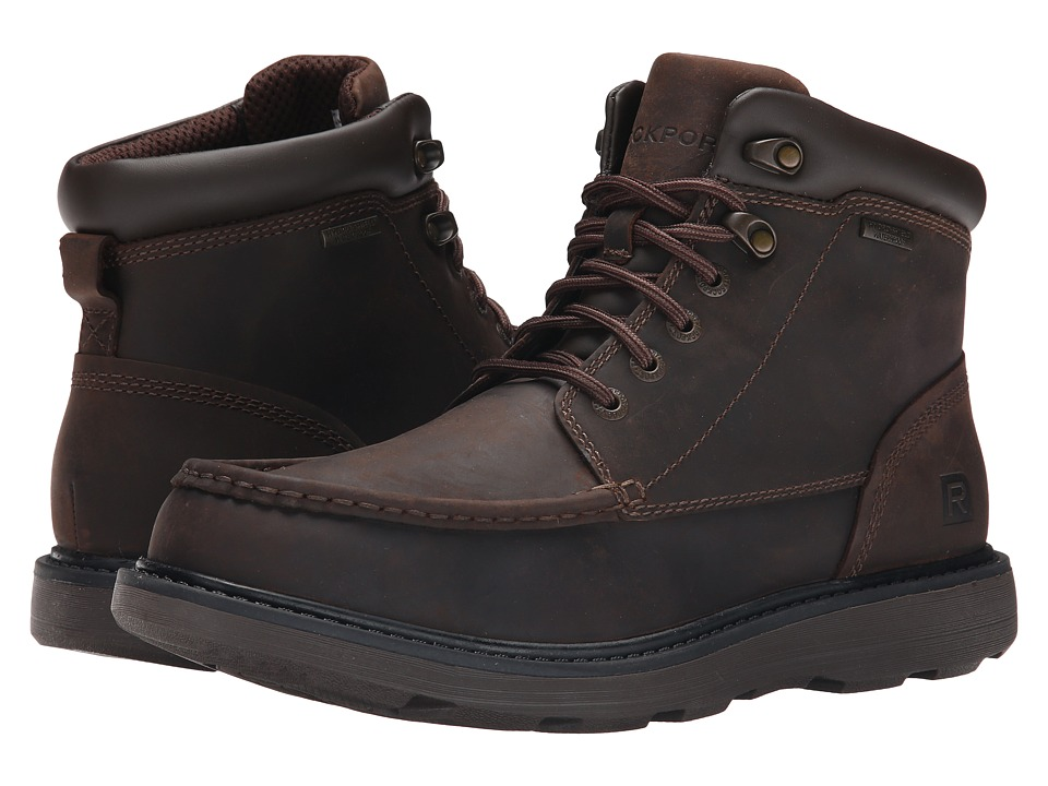 Rockport Boat Builders Waterproof Moc Toe Boot (Dark Brown) Men