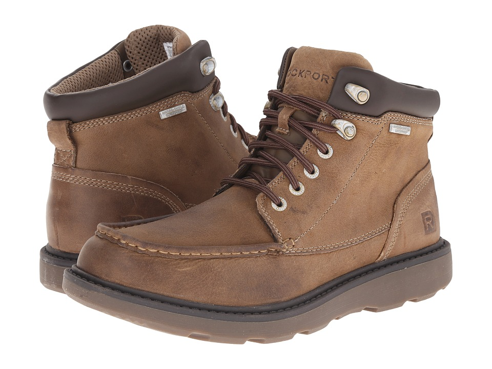 Rockport Boat Builders Waterproof Moc Toe Boot (Stone) Men