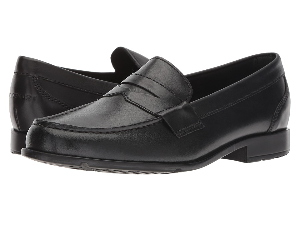 1960s Style Men's Clothing, 70s Men's Fashion Rockport - Classic Loafer Lite Penny Black II Mens Slip-on Dress Shoes $83.95 AT vintagedancer.com