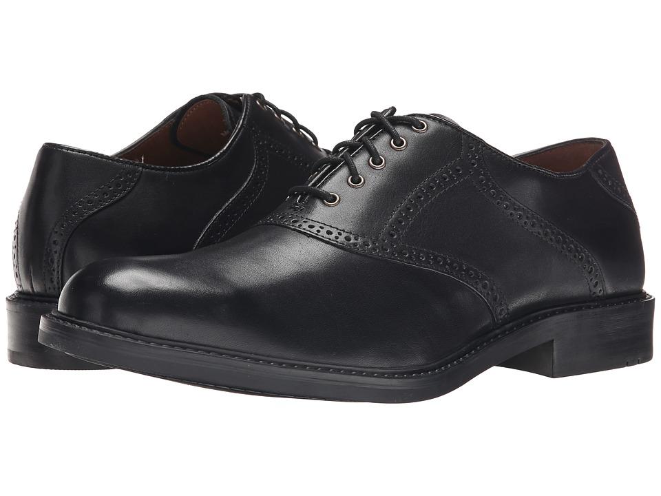 Johnston & Murphy - Tabor Saddle (Black Calfskin) Mens Plain Toe Shoes