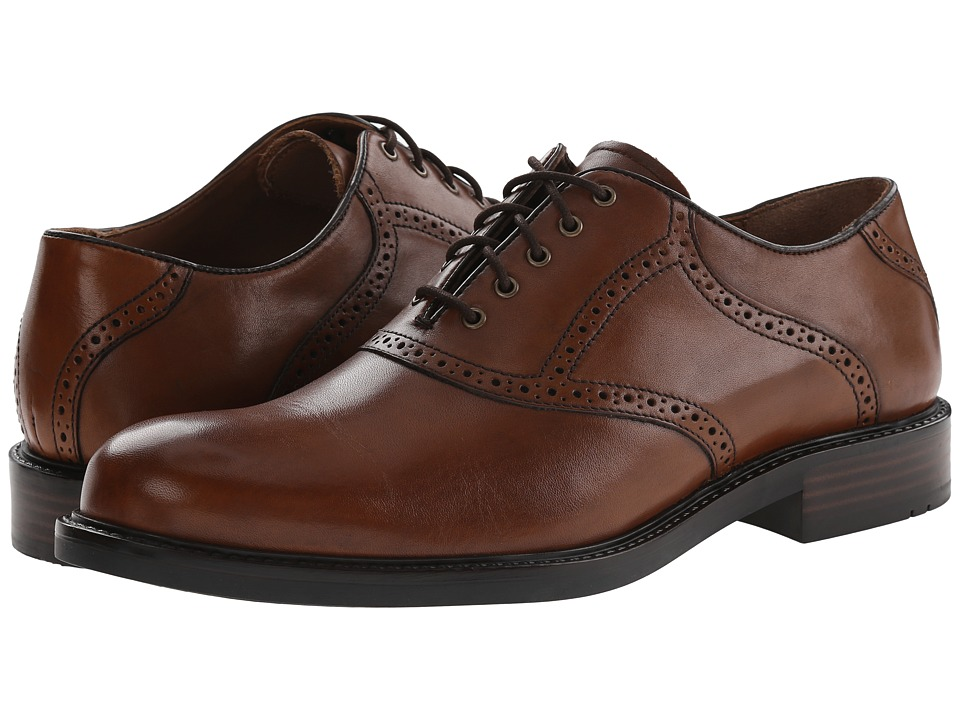 Johnston amp Murphy - Tabor Saddle Mahogany Calfskin Mens Plain Toe Shoes $135.00 AT vintagedancer.com