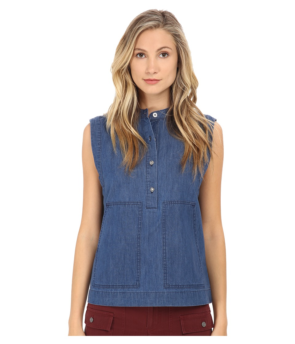 Marc by Marc Jacobs Cotton Silk Indigo Light Weight Denim Sleeveless Chambray Top Blow Blue Womens Sleeveless
