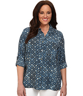 MICHAEL Michael Kors - Plus Size Munabao Hi-Lo Button Down Top