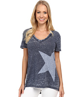 Allen Allen - Short Sleeve High-Low White Star T-Shirt