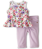 7 For All Mankind Kids - Floral Ruffle Tunic and Skinny Shorts (Infant)