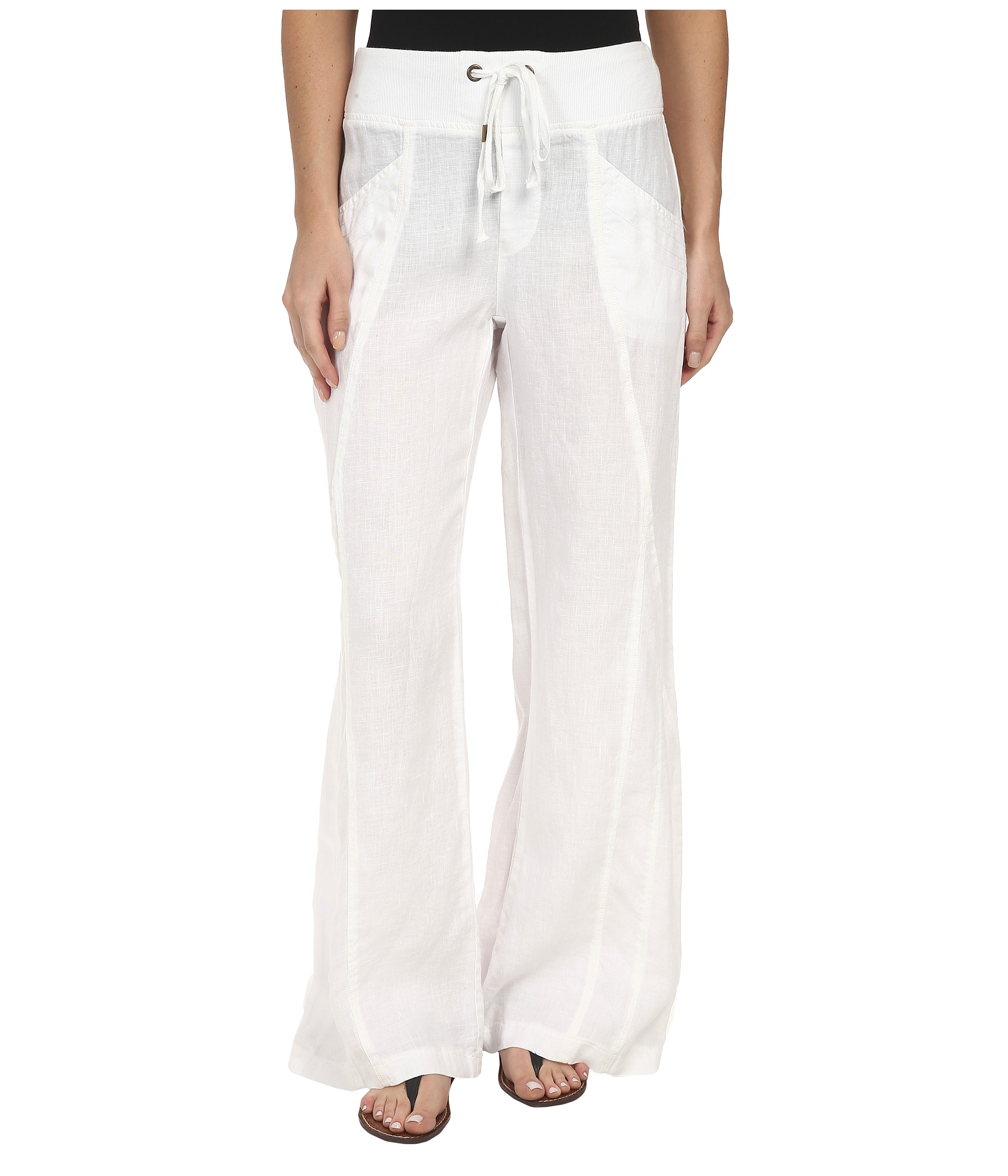 womens white linen drawstring pants - Pi Pants