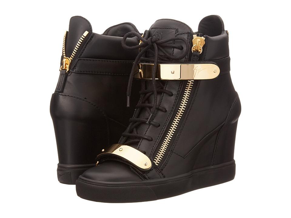 Giuseppe Zanotti RW5007 Birel Nero Bar Oro Fondo Nero Womens Shoes