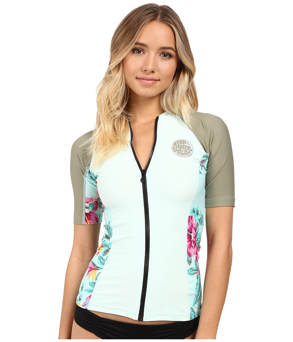 Rip Curl Beach Party Full Zip Short Sleeve Aqua Womens Swimwear