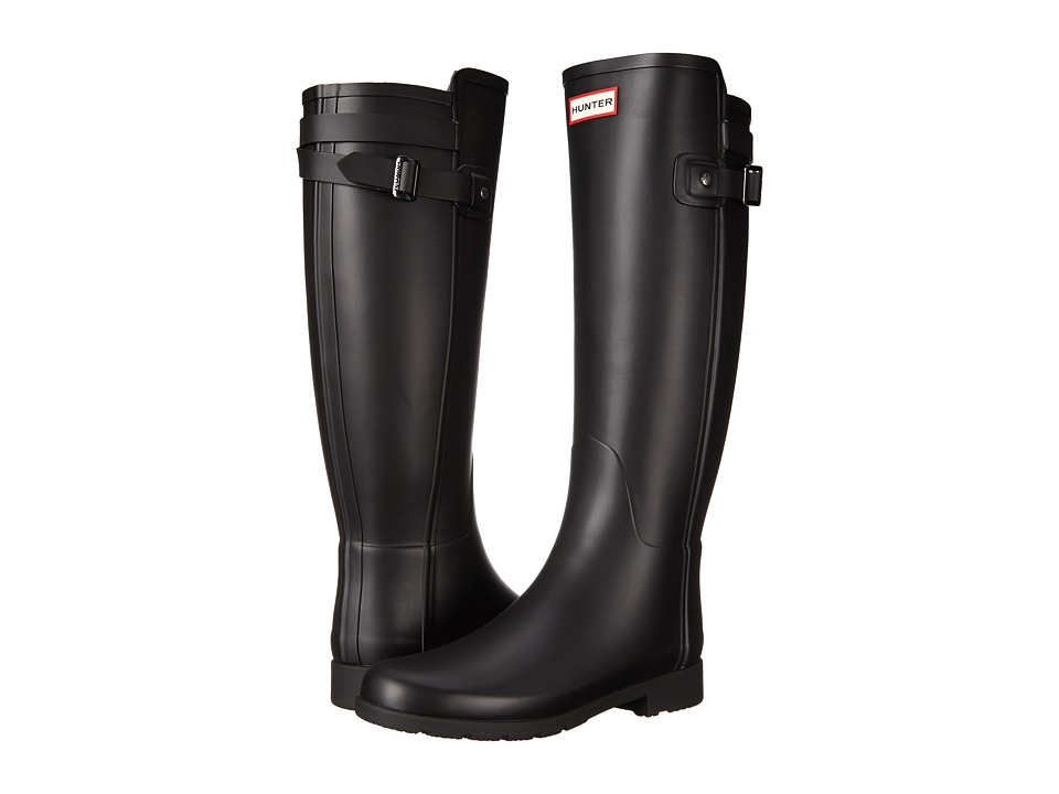Hunter Original Refined Back Strap Rain Boots (Black) Women