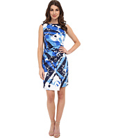 Adrianna Papell - Diagonal Pleated Print Dress
