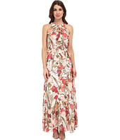 Adrianna Papell - Crossover Drape Halter Printed Maxi