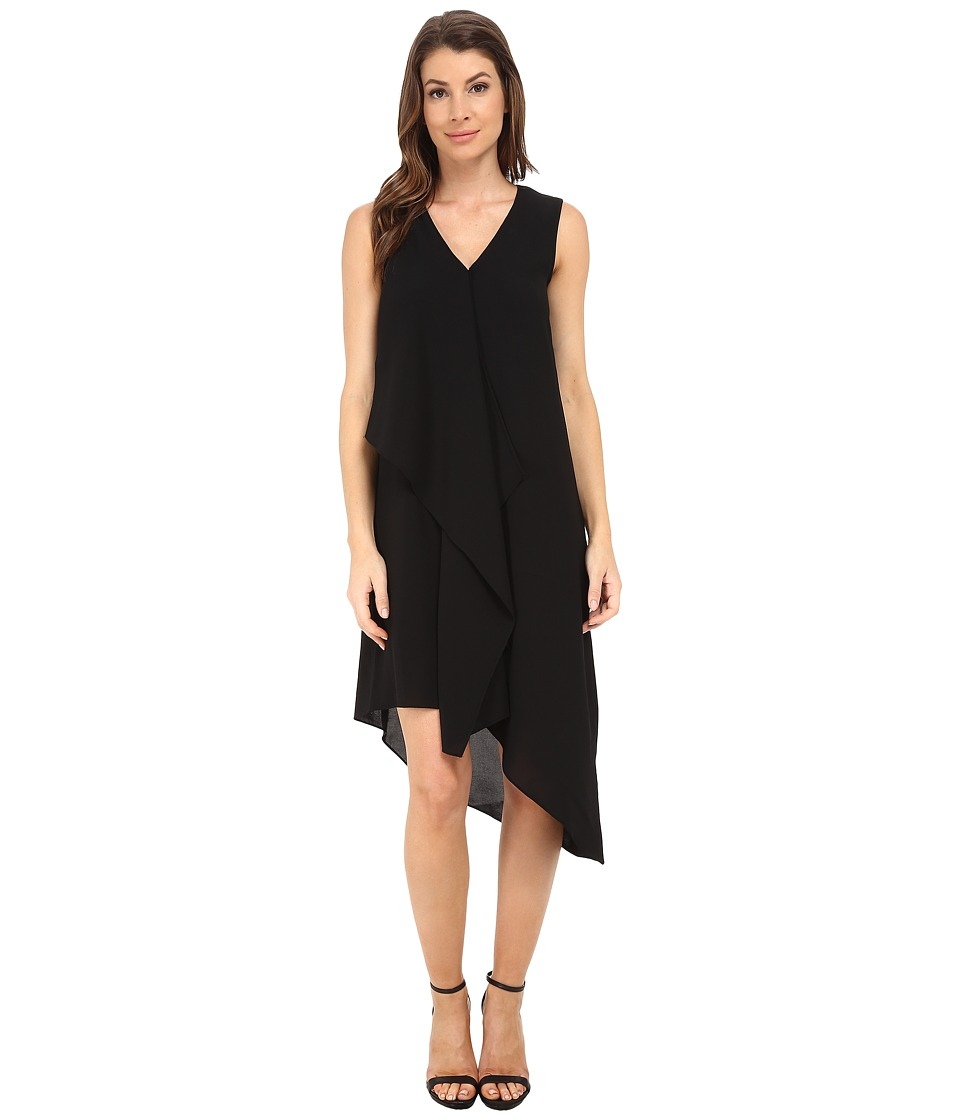 Adrianna Papell Asymmetrical Front Drape Dress Black Womens Dress