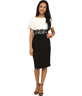 Adrianna Papell - Flutter Sleeve Lace Midriff Sheath
