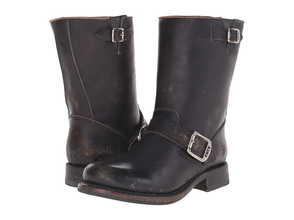 1950s Style Mens Shoes Frye - Jenna Engineer Short Black Stone Wash Womens Boots $229.99 AT vintagedancer.com