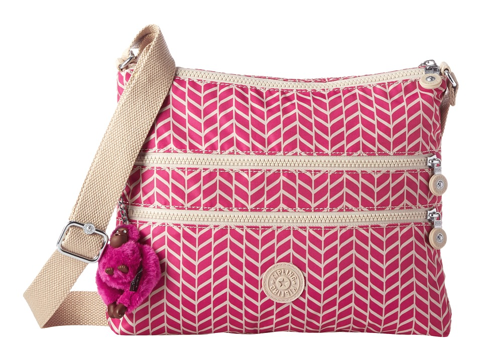 Kipling - Alvar Crossbody Bag (Chevron Magenta Print) Cross Body Handbags