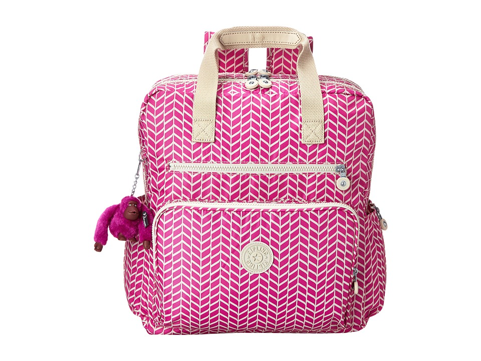 Kipling - Audra Printed Baby Backpack (Chevron Magenta Print) Backpack Bags