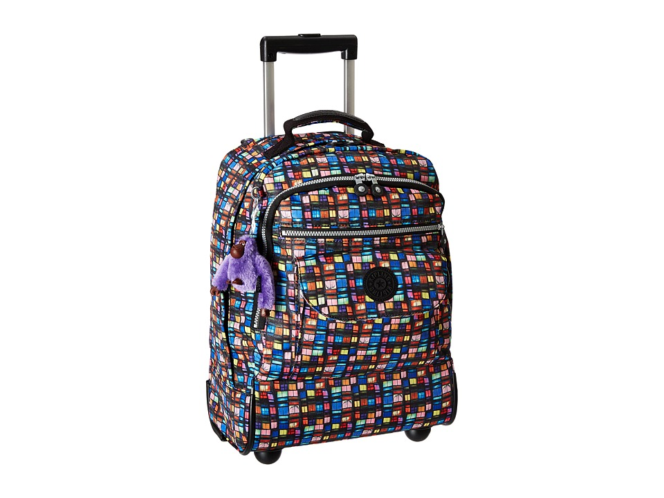 Kipling Sanaa Wheeled Backpack Black Whimsical Windows Print Block Backpack Bags