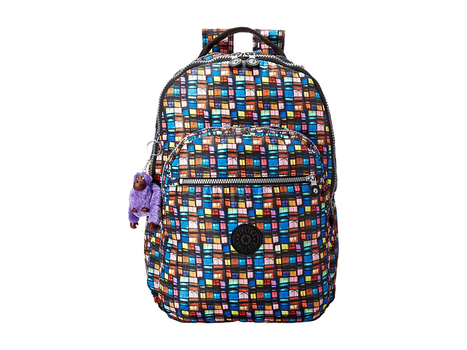 Kipling Seoul Backpack with Laptop Protection Black Whimsical Windows Print Block Backpack Bags