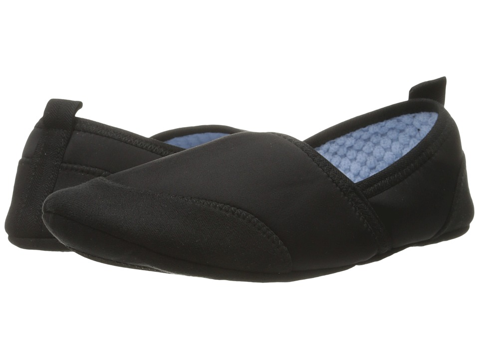 Acorn Pack Go Moc w/ Travel Pouch (Black) Women's Slippers