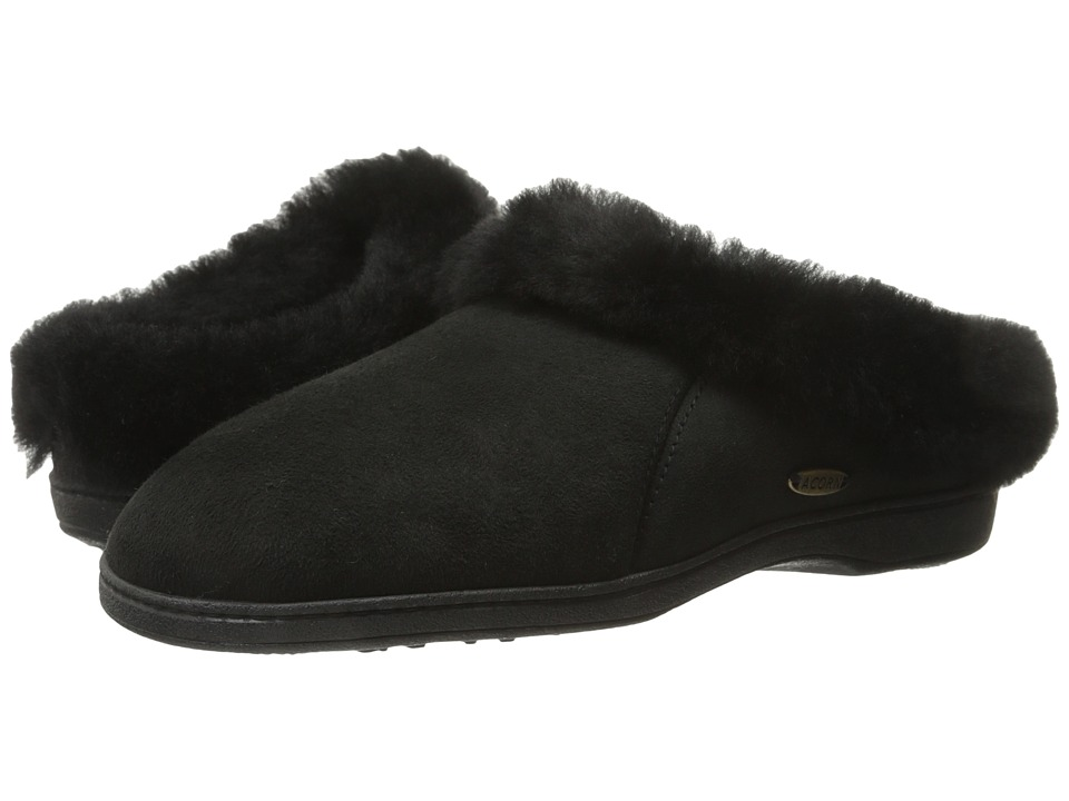 Acorn Ewe Collar Coal Womens Slippers