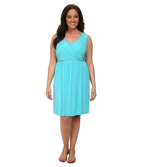 Fresh Produce Plus Size Crossover Tank Dress (Luna Turquoise) Women's Dress