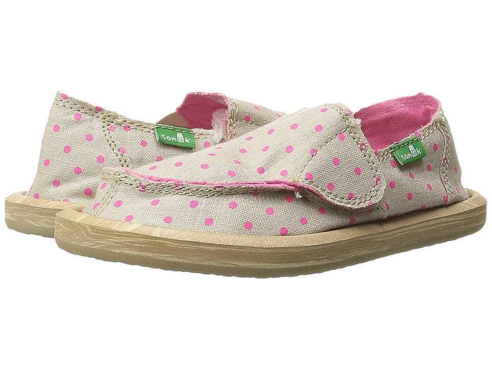 Sanuk Kids Hot Dotty Toddler/Little Kid Natural/Hot Pink Dots Girls Shoes
